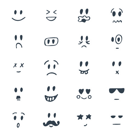 Set of hand drawn smiley faces. Sketched facial expressions set. Vector illustration Vectores