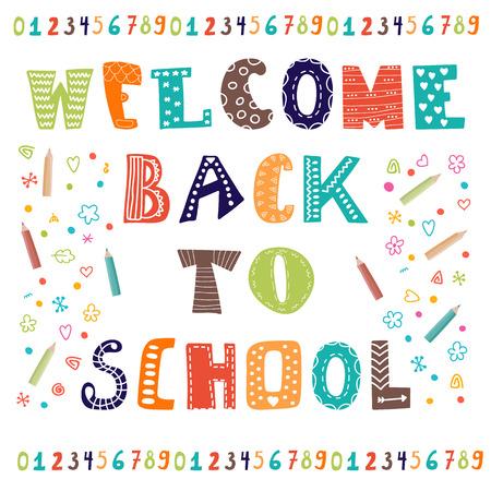 학교에 다시 오신 것을 환영합니다. 인사말 카드. 다시 학교로 디자인 템플릿. 벡터 일러스트 레이 션