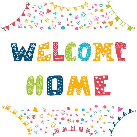vítejte: Vítejte doma text s barevnými prvky designu. Vektorové ilustrace