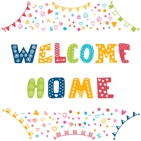 Welcome home text with colorful design elements. Vector illustration Çizim