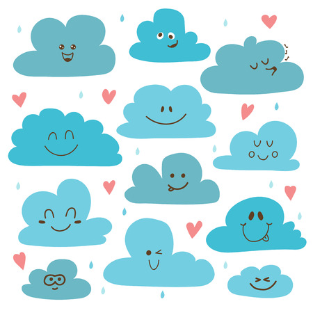 cartoon cloud: Cute hand drawn clouds. Funny weather theme. Vector illustration Illustration