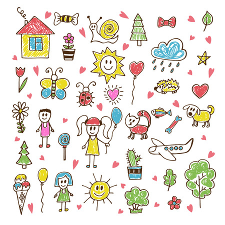 Doodle children drawing. Hand drawn set of drawings in child style. Vector illustration