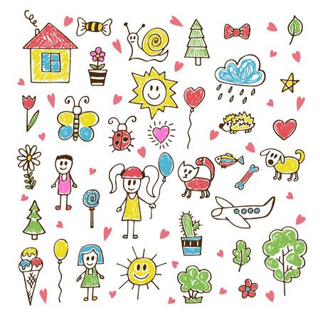 Doodle kinderen trekken. Hand getrokken set van tekeningen in de kinderopvang stijl. Vector illustratie
