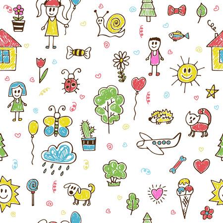 Hand getekende kinderen tekeningen kleur naadloos patroon. Doodle kinderen trekken achtergrond. vector illustratie