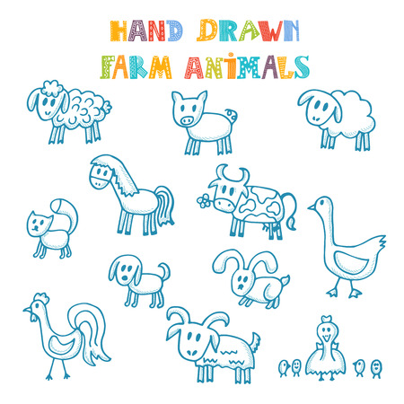 cartoon sheep: Hand drawn farm animals. Vector illustration Illustration