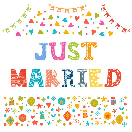 married: Just married. Cute greeting card. Vector illustration