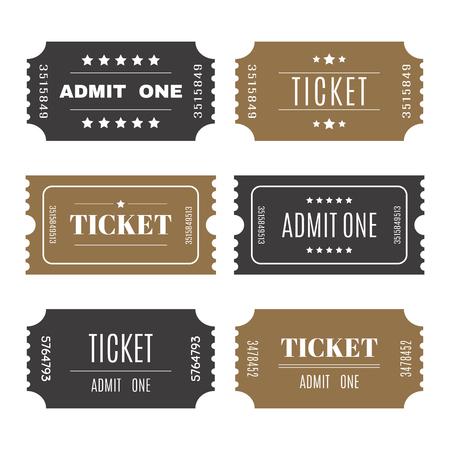 Los billetes de papel con números. Conjunto de boletos de entrada plantillas vectoriales. Ilustración vectorial Ilustración de vector