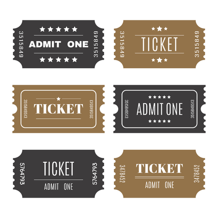 old movies: Paper tickets with numbers. Set of vector templates entry tickets. Vector illustration Illustration