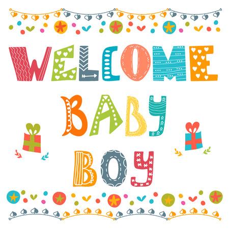 nato: Benvenuti neonato. Bambino ragazzo arrivo carta. Scheda dell'acquazzone del neonato. Illustrazione vettoriale Vettoriali