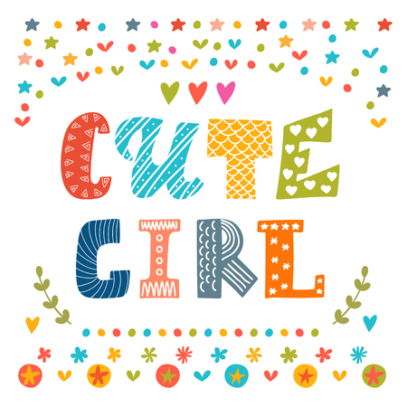 girl shirt: Cute girl card. Cute greeting card. Vector illustration