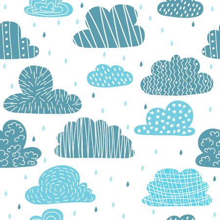 Cute hand drawn seamless pattern with clouds. Funny background. Vector illustration Illustration