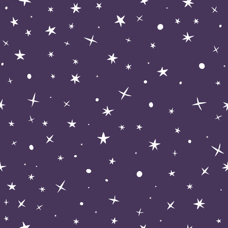 Cute hand drawn seamless pattern with night sky and stars. Vector illustration