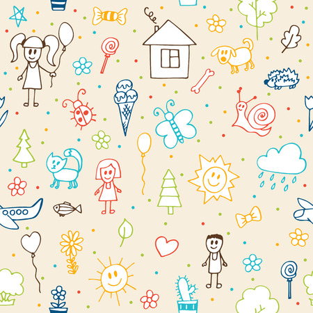 ink art: Hand drawn children drawings seamless pattern. Doodle children drawing background. Vector illustration
