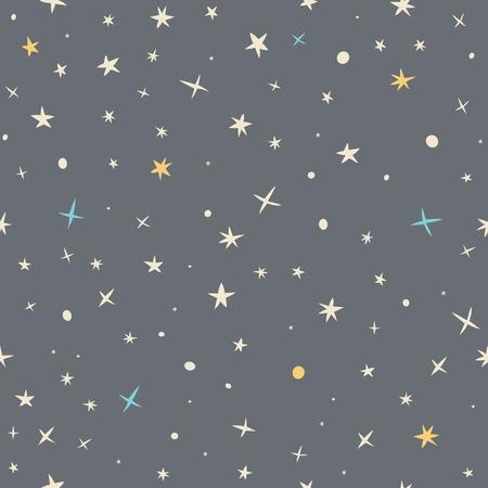 손 밤 하늘과 별과 원활한 패턴을 그려. 벡터 일러스트 레이 션