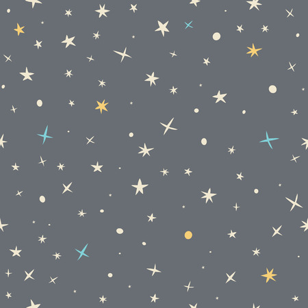 Hand drawn seamless pattern with night sky and stars. Vector illustration Vectores
