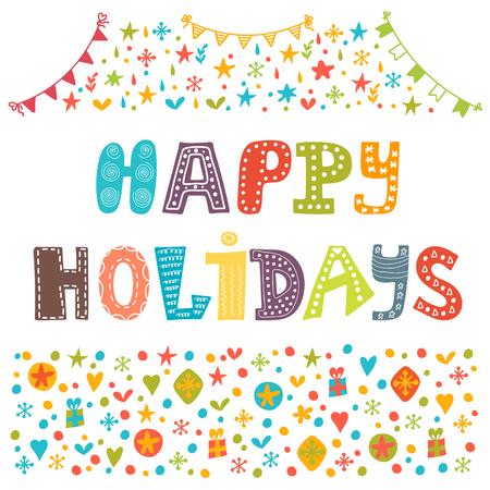 Buone vacanze cartolina d'auguri. Illustrazione per la progettazione vacanza. Illustrazione vettoriale Archivio Fotografico - 44838812