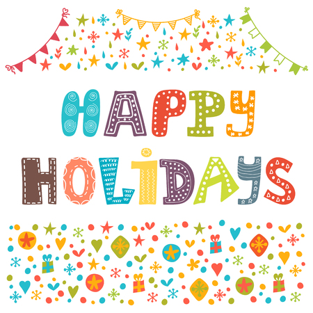 Happy Holidays greeting card. Illustration for holiday design. Vector illustration