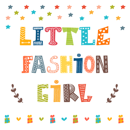 heart design: Little fashion girl card. Cute graphic for kids. Vector illustration