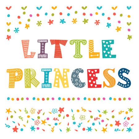 princesa: Pequeña princesa. Tarjeta de felicitación linda para la niña. Ilustración vectorial
