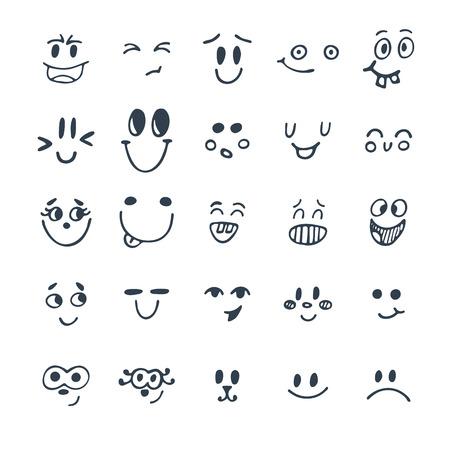 손으로 그린 재미 있은 얼굴의 집합입니다. 귀여운 만화 감정적 인 얼굴을 설정합니다. 벡터 일러스트 레이 션 일러스트
