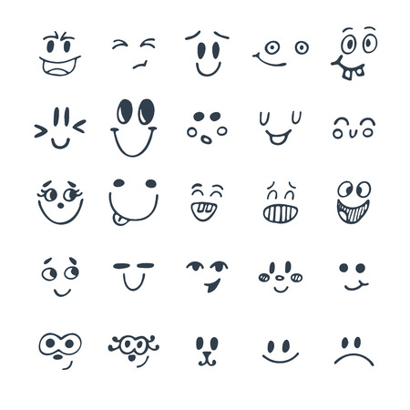 Set of hand drawn funny faces. Cute cartoon emotional faces set. Vector illustration