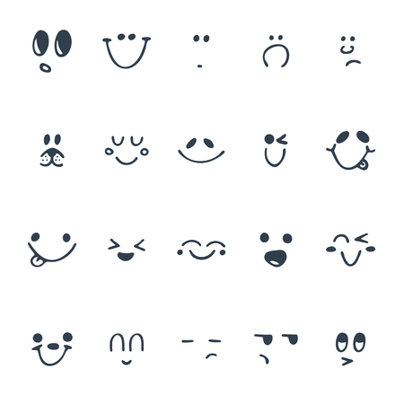 Set of hand drawn funny faces. Happy faces. Vector illustration Vettoriali