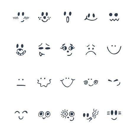 스케치 된 얼굴 표정을 설정합니다. 다른 식 손으로 그린 귀여운 얼굴의 집합입니다. 벡터 일러스트 레이 션