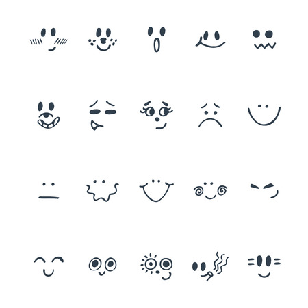 Sketched facial expressions set. Set of hand drawn cute faces with different expressions. Vector illustration Ilustração