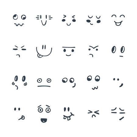 스케치 된 표정 집합입니다. 손으로 그린 재미있는 만화 얼굴의 집합입니다. 벡터 일러스트 레이 션