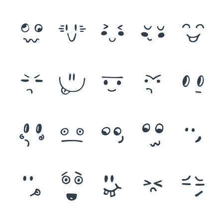 Sketched facial expressions set. Set of hand drawn funny cartoon faces. Vector illustration Ilustração
