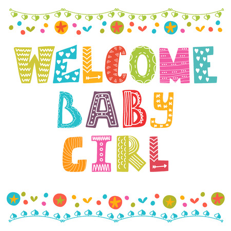 girl: Welcome baby girl. Baby girl arrival card. Baby girl shower card. Vector illustration