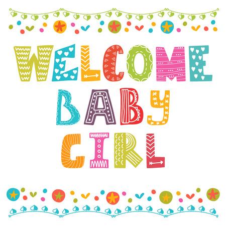 Willkommen Baby. Baby Girl Ankunft Karte. Baby-Dusche-Karte. Vektor-Illustration Standard-Bild - 44838852
