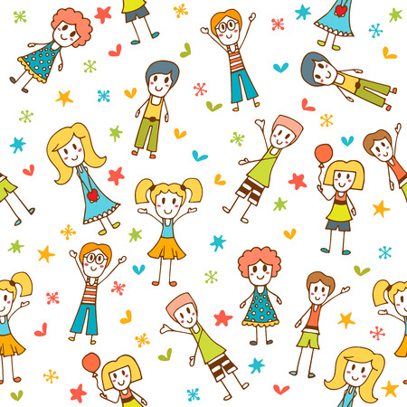 family holiday: Hand drawn seamless pattern with happy children. Vector illustration