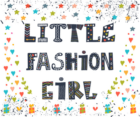 cute graphic: Little fashion girl card. Cute graphic for kids. Funny postcard with decorative elements. Vector illustration Illustration
