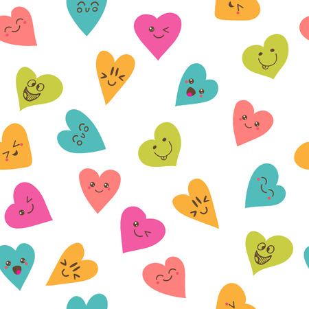 heart shape hands: Seamless pattern with smiley hearts. Cute cartoon characters. Vector illustration