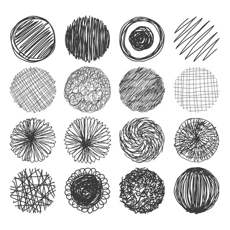 draw a sketch: Set of hand drawn circles. Vector logo design elements. Vector illustration