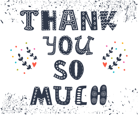 Thank you so much postcard. Cute greeting card with design elements. Vector illustration