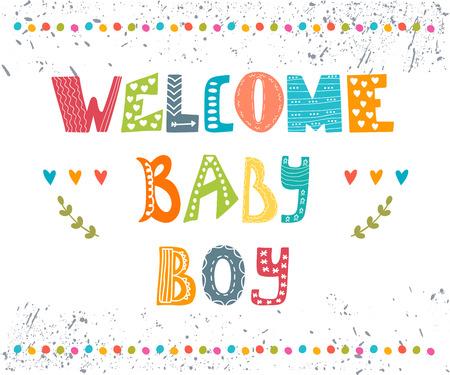 에 오신 것을 환영합니다 아기. 아기 소년 도착 엽서입니다. 아기 소년 귀여운 샤워 카드. 벡터 일러스트 레이 션