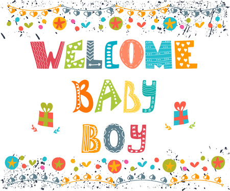 boys: Welcome baby boy. Baby boy arrival postcard. Baby boy shower card. Vector illustration Illustration