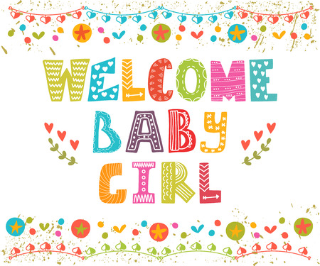 baby girl: Welcome baby girl. Baby girl arrival card. Baby girl cute shower card. Vector illustration