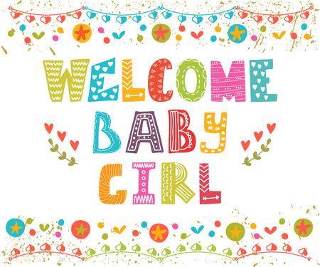 girl cute: Welcome baby girl. Baby girl arrival card. Baby girl cute shower card. Vector illustration