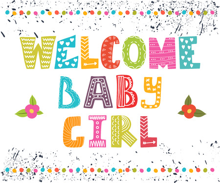 Welcome baby girl. Baby girl arrival postcard. Baby girl cute shower card. Vector illustration Vectores