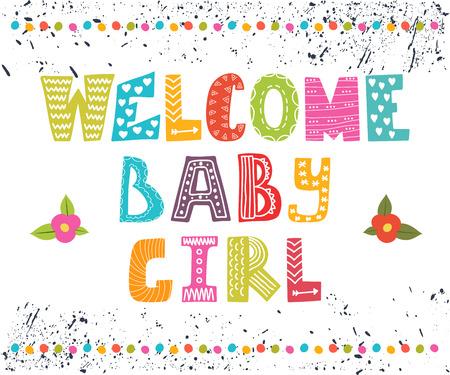 bebes recien nacidos: Niña de bienvenida. Postal de la llegada del bebé. Niña linda Tarjeta de la ducha. Ilustración vectorial