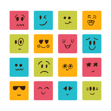 face expressions: Cartoon faces with different emotions. Vector illustration