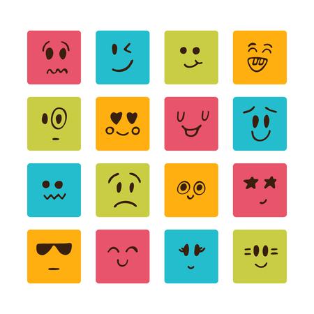 emo��es: Faces dos desenhos animados com emo��es diferentes. Ilustra��o do vetor