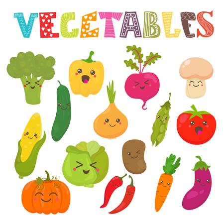 frutas divertidas: Kawaii lindo sonriendo verduras. Colección estilo saludable. Ilustración vectorial