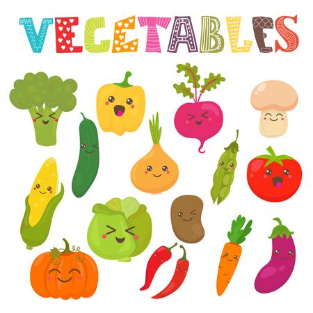 Kawaii mignon sourire légumes. Collection de style saine. Vector illustration Banque d'images - 45969648