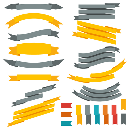 Collection of ribbons and labels. Set of design elements. Vector illustration Çizim