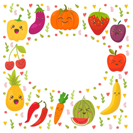 apple character: Fresh happy fruits and vegetables. Frame for your design. Cute background. Vector illustration