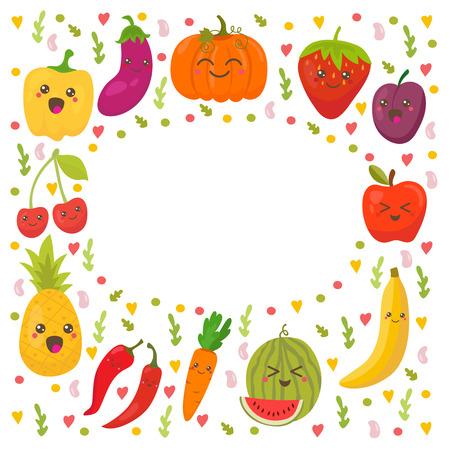 fresh apple: Fresh happy fruits and vegetables. Frame for your design. Cute background. Vector illustration